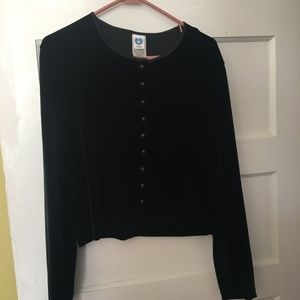 Black Velvet Cropped Cardigan Vintage Next Era